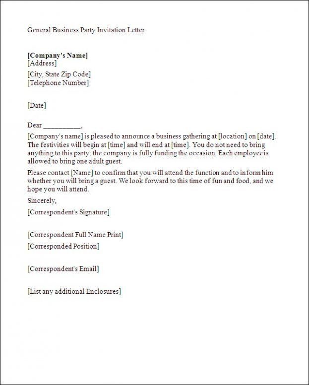 Business Party Invitation Letter General Business Invitation ...