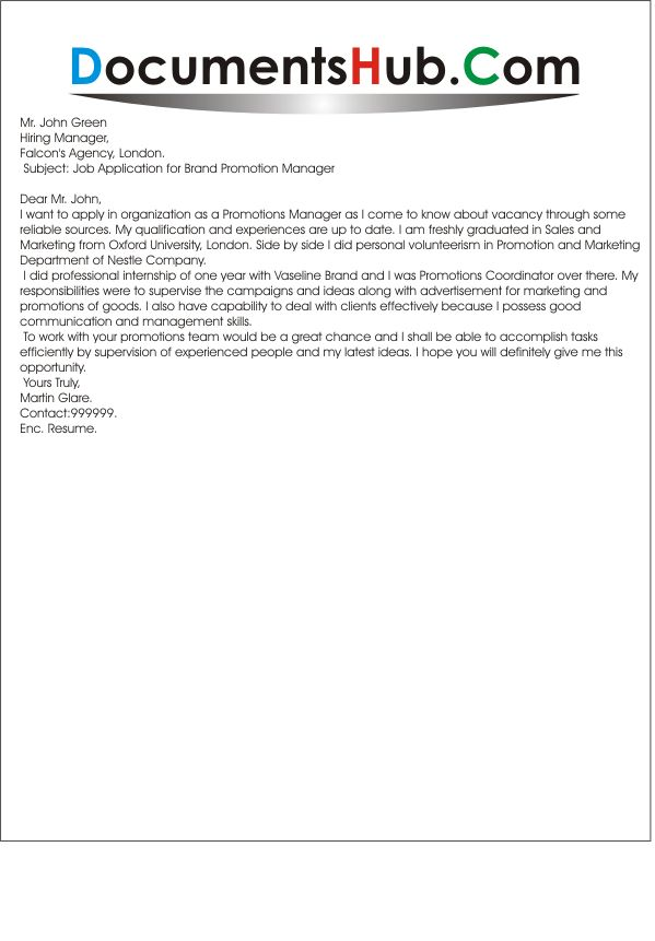 Example cover letter junior project manager