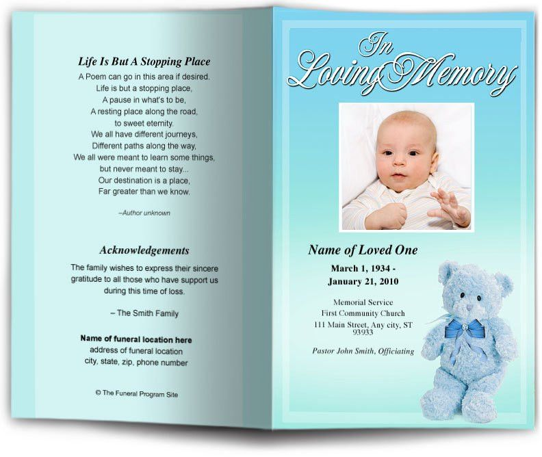Memorial Service Programs With Children, Baby, Youth Theme