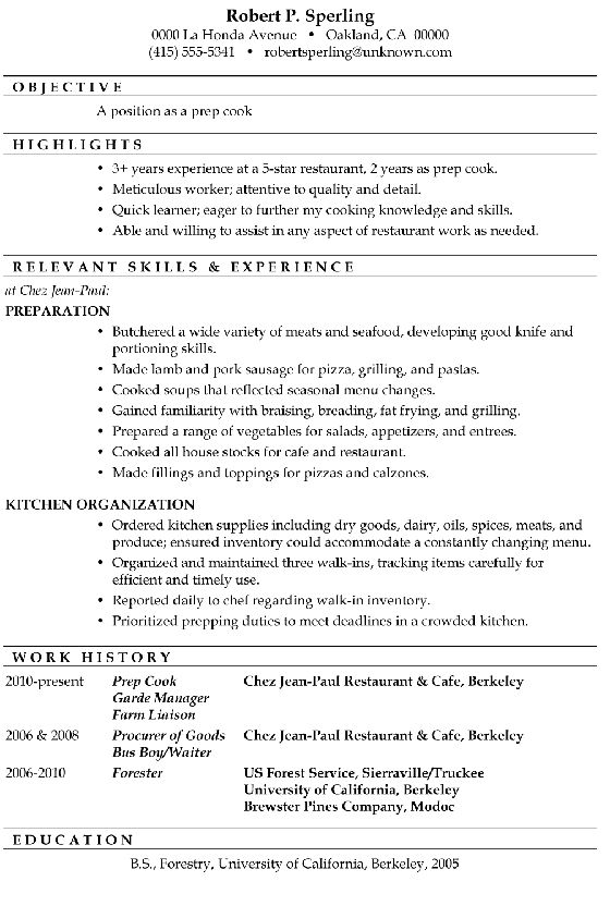 Resume For Cook. sample chef resume chefs resume chef resume ...