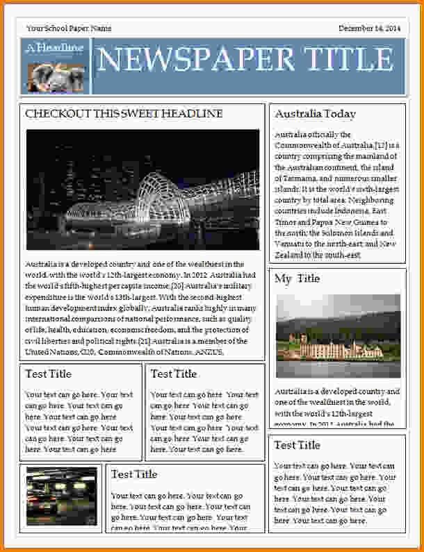 Newspaper Template For Word.53blank Newspaper Template For Kids ...