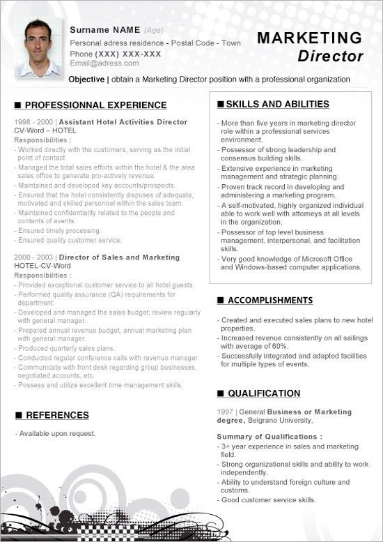 Marketing Resume Sample. Sales Marketing Resume Template Marketing ...