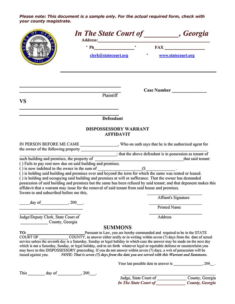Georgia Sample Dispossessory Warrant & Affidavit | EZ Landlord Forms