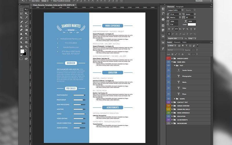 Clean Resume Template Photoshop PSD | Cursive Q