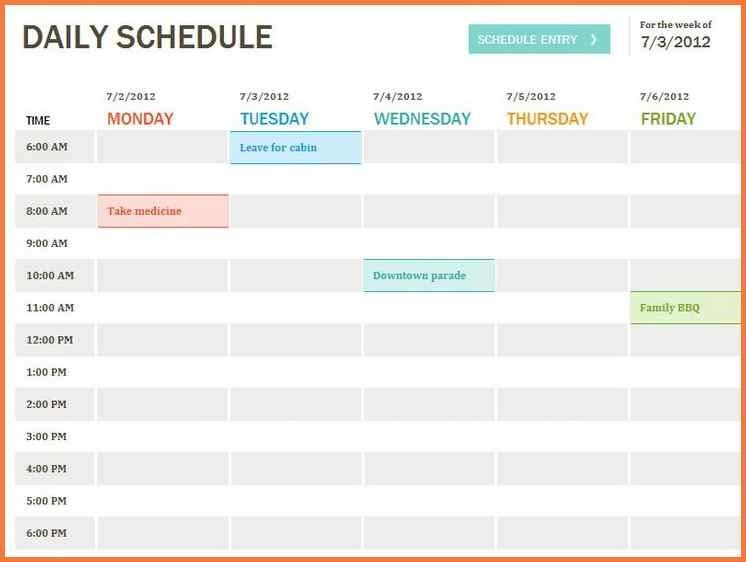 daily schedule template free