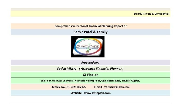 Sample Comprehensive Personal Financial Plan Created in Excel based P…