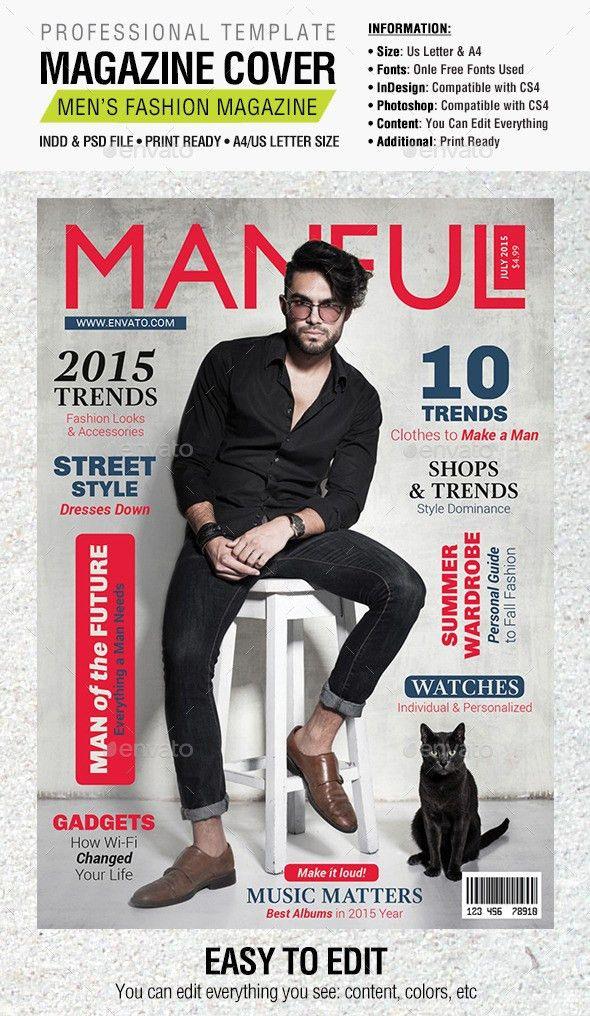 Manful Fashion Magazine Cover | Print templates, Magazine cover ...