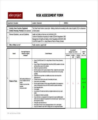 Sample School Risk Assessment Forms - 8+ Free Documents in PDF