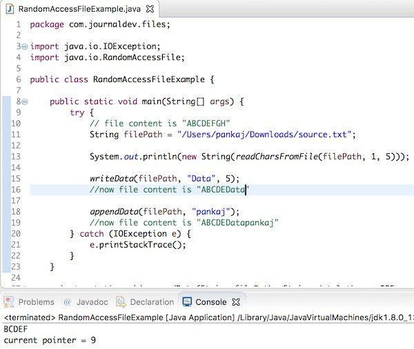 Java RandomAccessFile Example - JournalDev