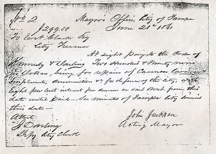 Tampa sued to collect on 147-year-old promissory note worth ...