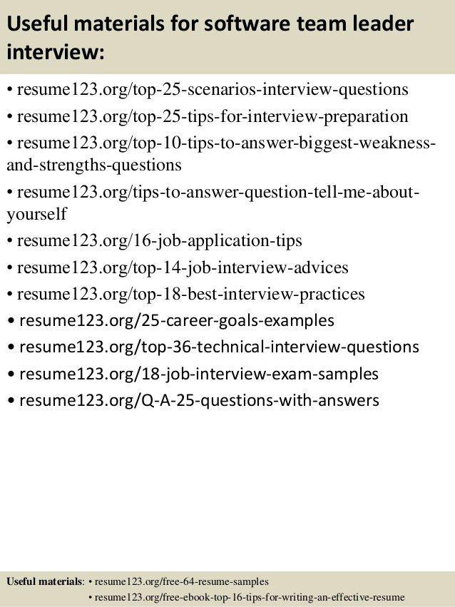 Top 8 software team leader resume samples