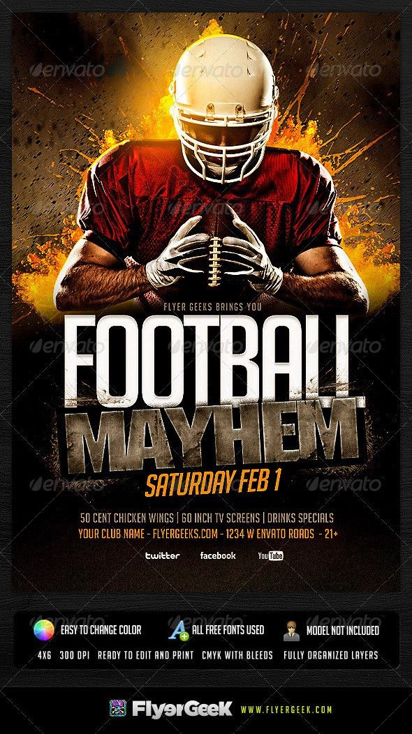 Football Flyer Template PSD | Flyer template, Event flyers and ...