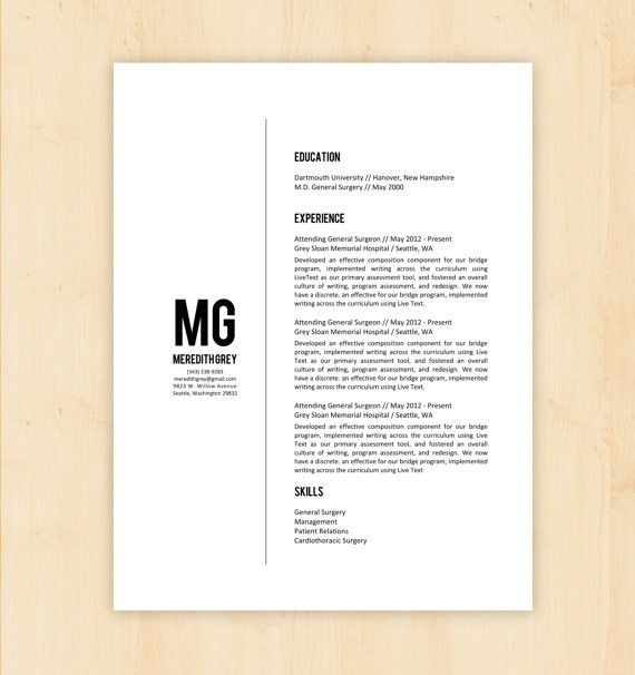 Resume Template / CV Template - The Meredith Grey Resume Design ...