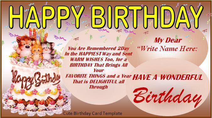 Birthday Card Template - Word Excel PDF