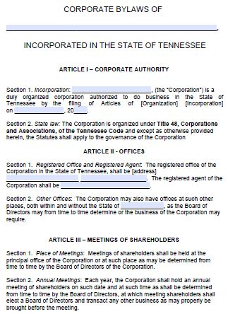 Free Tennessee Corporate Bylaws Template | PDF | Word |