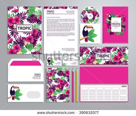 Corporate Identity Templates Tropical Style Notepad Stock Vector ...