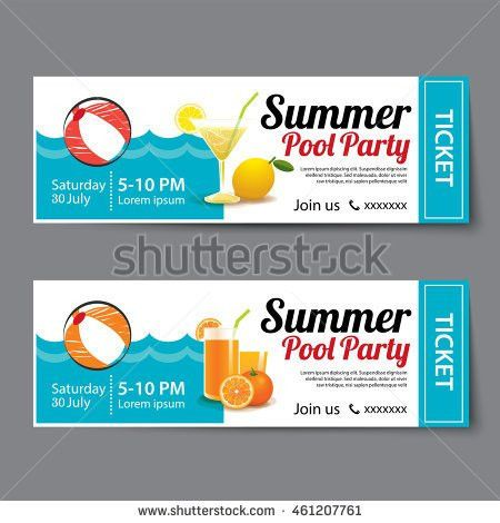 Summer Pool Party Ticket Template Stock Vector 461207761 ...