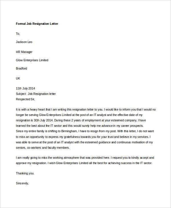 10+ Formal Resignation Letters - Free Sample, Example Format ...