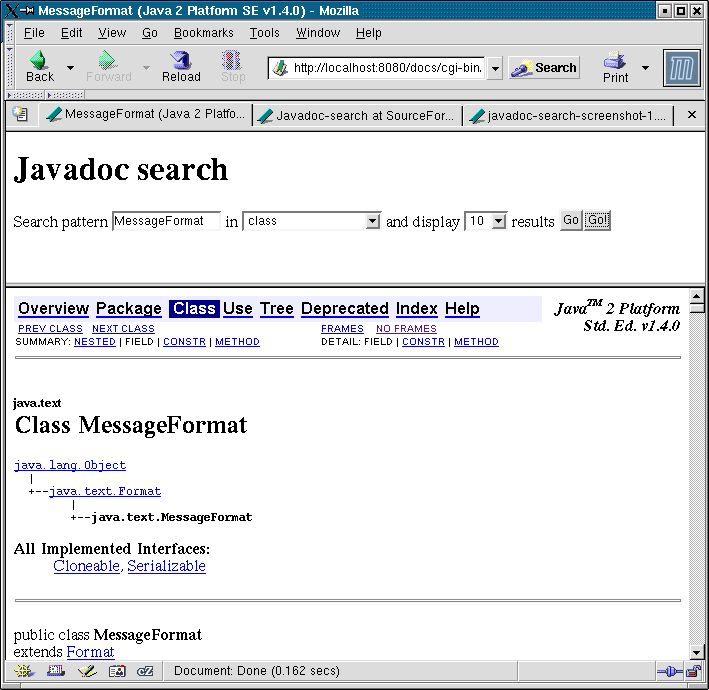 Javadoc-search at SourceForge