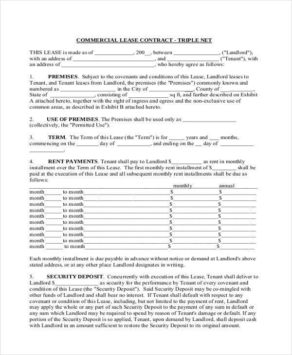 Sample Triple Net Lease Form - 6+ Free Documents in PDF