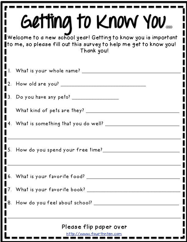 getting to know you survey for students {printable} | Teacher ...