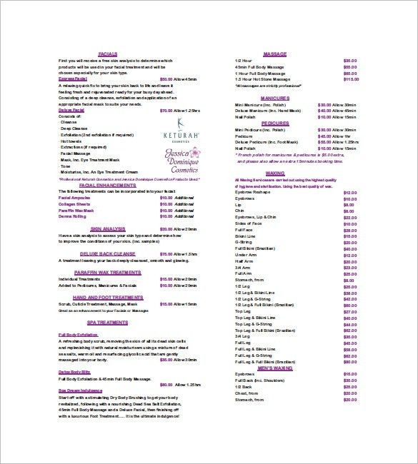 Salon Price List. Gem 'N' Eyes Price List Gem 'N' Eyes - Health ...