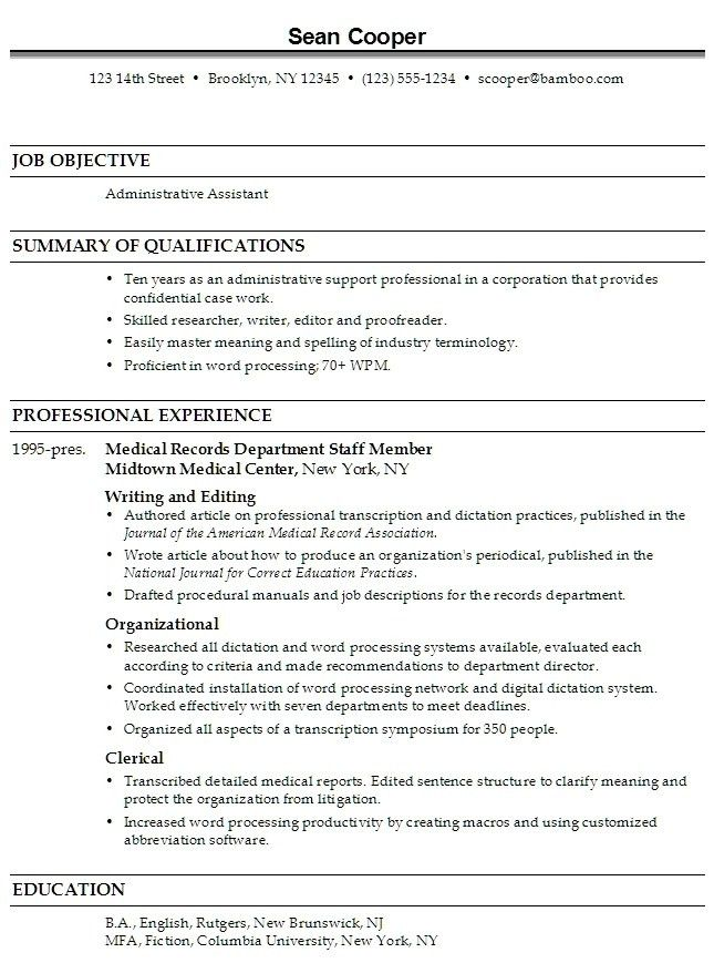 Medical Administrative Assistant Resume | Template Design