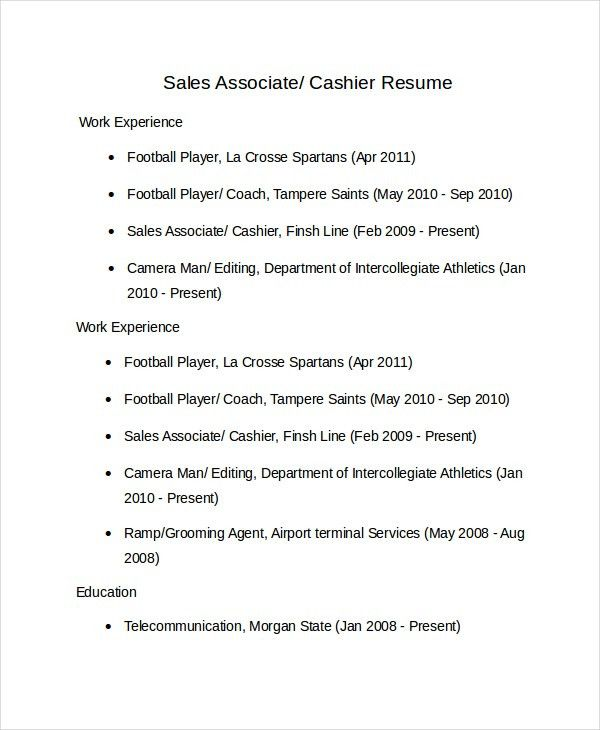 Sales Associate Resume Template - 8+ Free Word, PDF Document ...