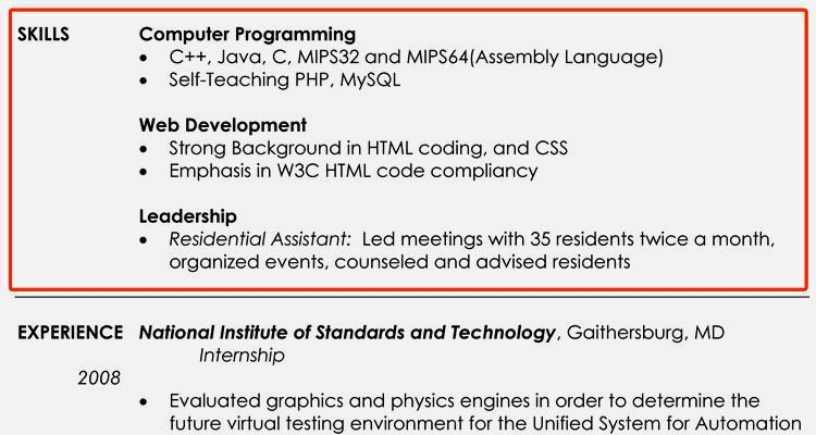 Perfect Skills Section Of Resume Example – Resume Template For Free
