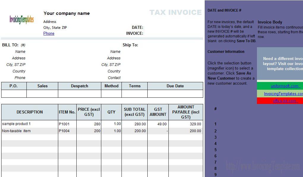Australian GST Invoice Template (2)