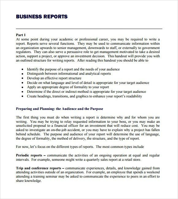 Business Report Format Example  Business Report Templates Free