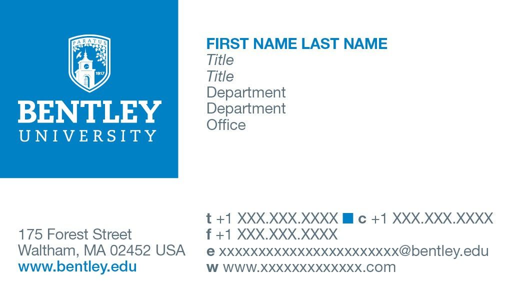 Stationery and Business Cards | Bentley University