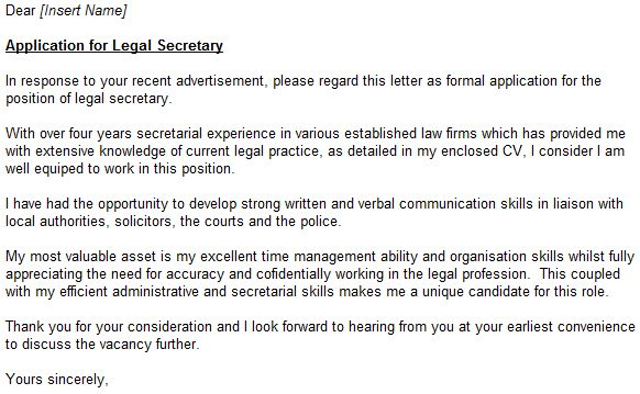Legal Secretary Cover Letter - My Document Blog