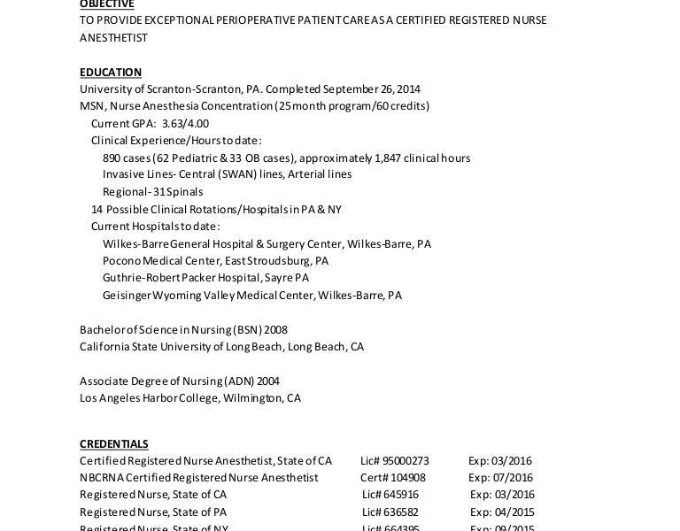 Fashionable Design Crna Resume 7 CRNA - Resume Example