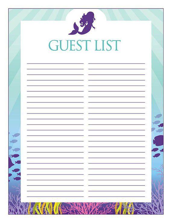 Instant Download Mermaid Guest List Printable Purple Mermaid