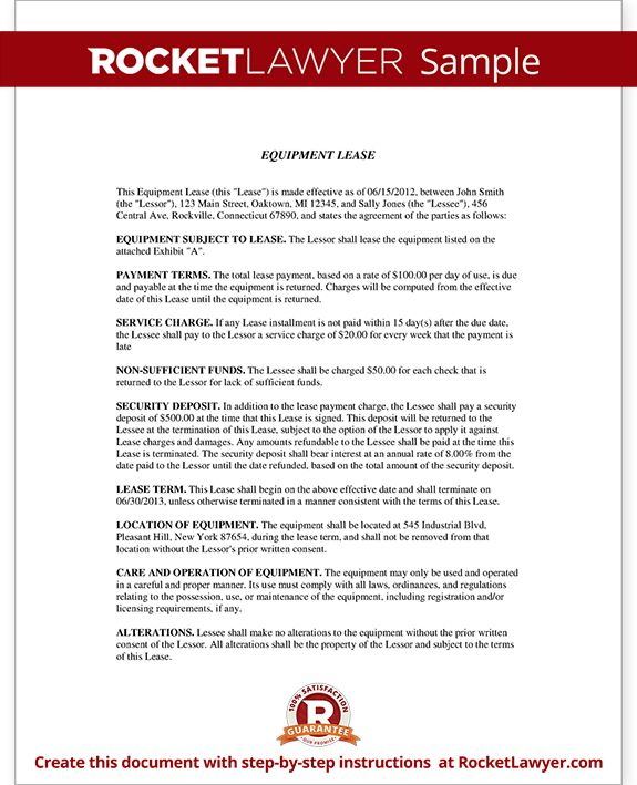 Equipment Leasing - Equipment Rental Agreement | Rocket Lawyer