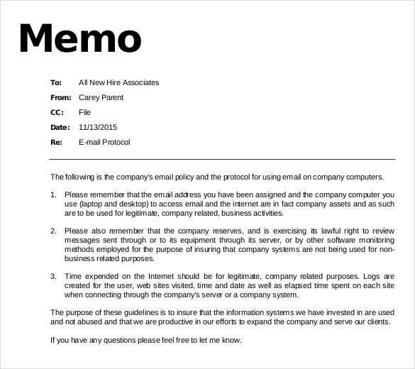 11+ Email Memo Templates – Free Sample, Example, Format Download ...