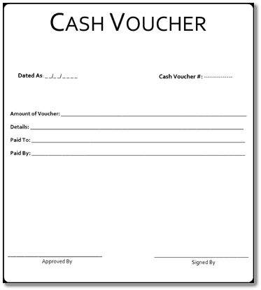 Cash Voucher Format – Download Free Form & Sample for PDF, Word