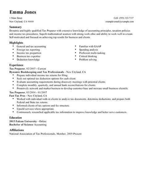 Best Tax Preparer Resume Example | LiveCareer