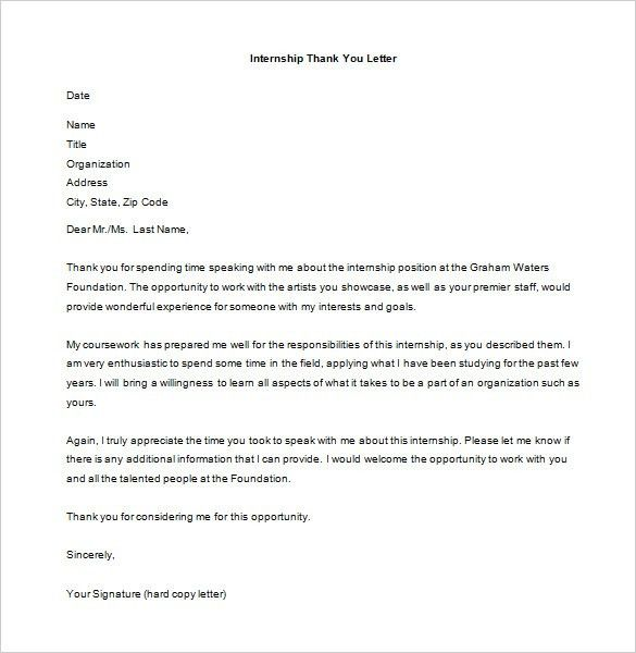 Internship Thank You Letter – 9+ Free Word, Excel, PDF Format ...