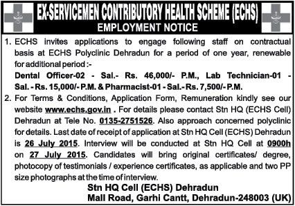 Dental Officer, Lab Technician Jobs in Dehradun at ECHS Polyclinic