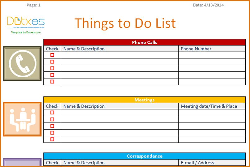 11+ to do list template | Job Resumes Word