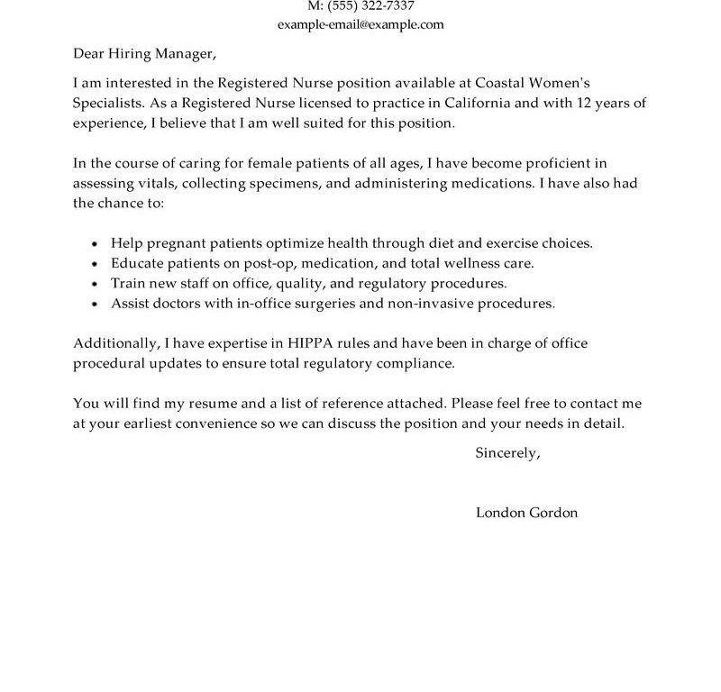 Stylish Design Nursing Cover Letters 10 Best Registered Nurse ...