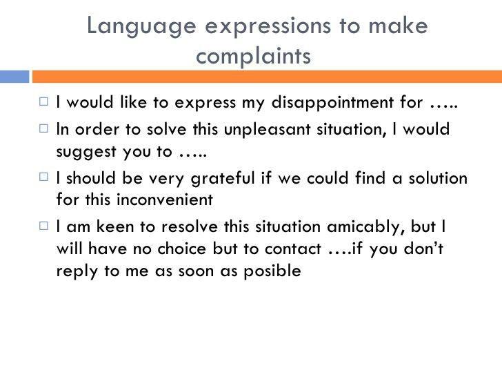 Complaint Letters Expressions. Sample Complaint Letter Format 9 ...
