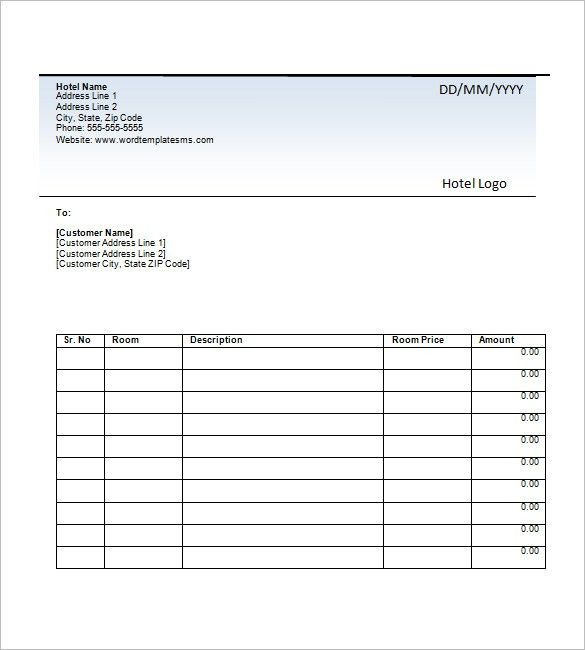 Hotel Invoice Template – 8+ Free Word, Excel, PDF Format Download ...