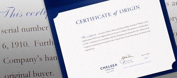 Chelsea Clock Certificates of Origin & Serial Numbers