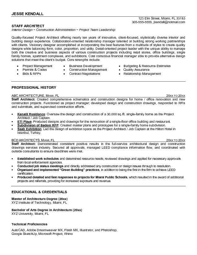 Example Staff Architect Resume - Free Sample
