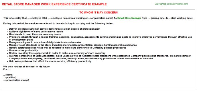 Retail Store Manager Work Experience Letters