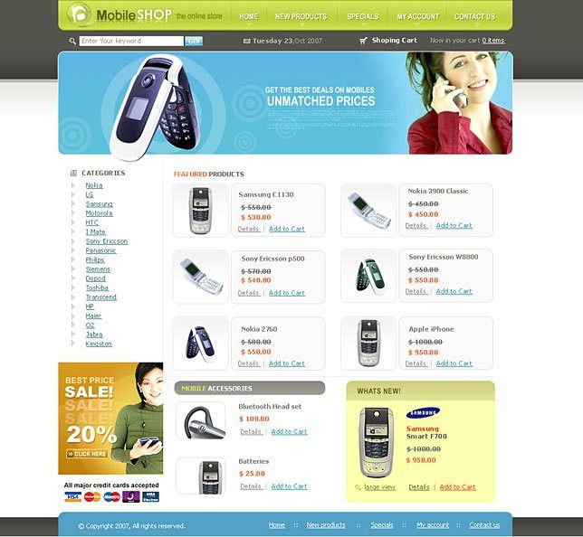Mobile store ebay listing template html