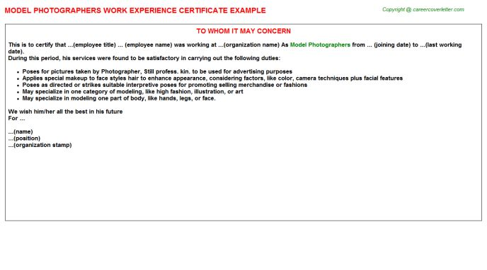 Model Photographers Work Experience Certificate